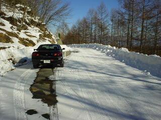 雪道とスカイライン